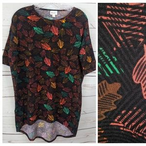 Lularoe Top Leaves Autumn Print Irma Hi low C47